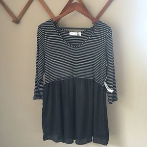 NEW Black and White Striped Maternity Top